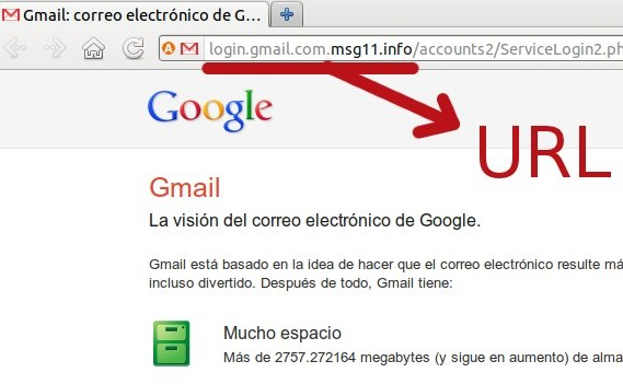 Exemple de phishing amb Gmail
